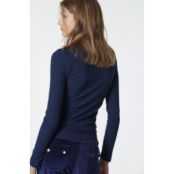 SUGARFREE ELASTIC LONG SLEEVED TOP NAVYBLUE, 19832113-425