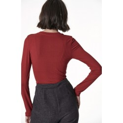 SUGARFREE Ελαστική μακρυμάνικη μπλούζα κόκκινη, 19832113-633