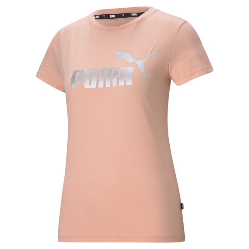 Puma Ess+ Metallic Logo Tee apricot blush/silver, 586890-26