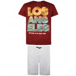 Energiers Σετ T-shirt με Βερμούδα Φούτερ 13-221040-0 Μπορντό 2τμχ, 13-221040-0-9