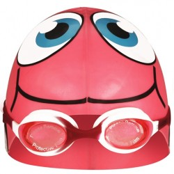 Swimming Cap Fish with Swimming Goggles pink