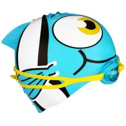 Swimming Cap Fish with Swimming Goggles blue