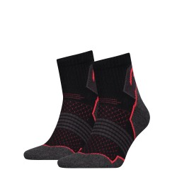 Hiking quarter socks grey/red (2 pairs)