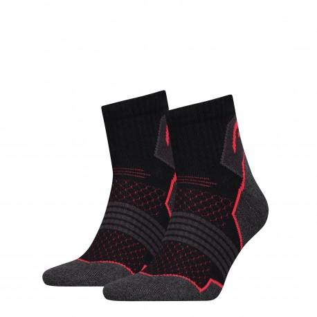 Hiking quarter socks grey/red (2 pairs)