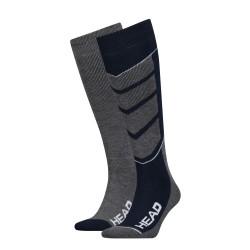 Ski socks for ski & snowboard grey/blue (2 pairs)