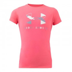 Girls' UA Tech Big Logo Short Sleeve pink