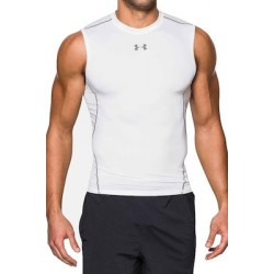 Men's HeatGear Armour Sleeveless Compression Shirt white