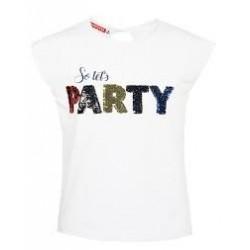 Αμάνικη μπλούζα λευκή με παγιέτες ENERGIERS, 16-220209-5